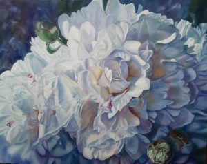 Imperfect Perfection - original floral oil painting of peonies