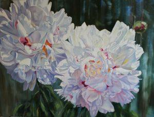 White Peony XVII - original floral oil painting peonies