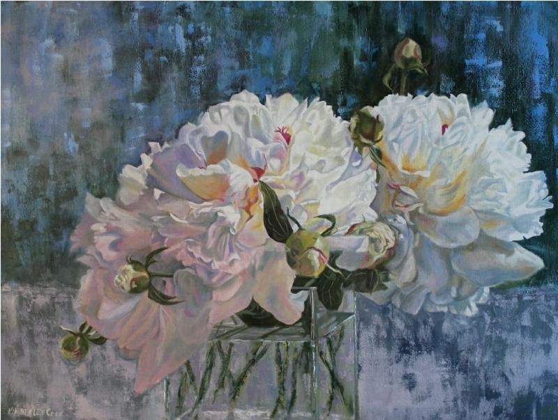 White Peonies VII - original floral oil painting peonies