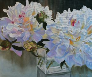 White Peonies VIII - original floral oil painting peonies
