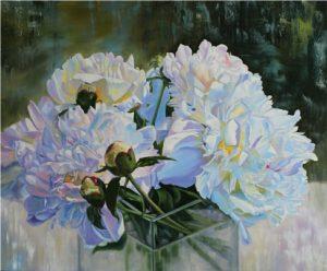 Luminous- original floral oil painting peonies
